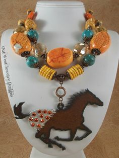 Cowgirl Necklace Set  Chunky Orange and Aqua Howlite Turquoise by Outwestjewelry