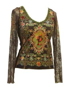 Michal Negrin Chiffon Long Sleeves U-Neck Blouse Outfitted with Swarovski Crystals Accented Vintage Floral Pattern, Green Lace Trim and Gold Merrow Edge Finish - Size XL Michal Negrin,http://www.amazon.com/dp/B008HQWJ9Y/ref=cm_sw_r_pi_dp_Jwqlrb07AZYG1C8K