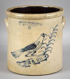 cobalt decorated salt glaze crock