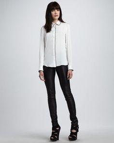 #Theory Skinny Leather Pants, Black  #corporatechic #blackandwhite