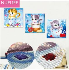 3pcs New 5D diamond cartoon cartoon kitten pattern cross stitch living room bedroom TV children's room decoration painting foyer <3 AliExpress Affiliate's Pin. Click the VISIT button to find out more