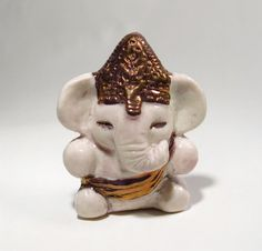 Ganesh Statue with Gold Luster Miniature Ceramic White by Jillatay