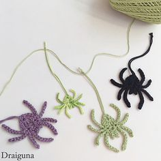 "This spider is quick and easy to make. It is also great for using up leftover thread or yarn. There are two different sizes, the spider measures about 2"" and the spiderling measures about 1 1/2""."