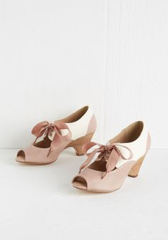 On Par with Posh Heel by Chelsea Crew - Mid, Pink, White, Solid, Wedding, Party, Vintage Inspired, 20s, Better, Lace Up, Pastel