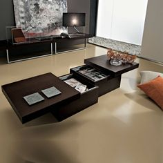 Modern design coffee table with hidden storage Asia by La Primavera Mobili, is available in wood finish, matt or glossy lacquered finishes, 120 x 60 cm Folding Coffee Table, Coffee Table With Storage, Coffee Tables, How To Clean Furniture, Cool Furniture, Wooden Furniture, Kellys Furniture, Furniture Ideas, Rectangular Living Rooms