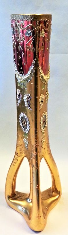 The shape of this vase is very similar to a tripod vase designed by Loetz designer Marie Kirchner. Could be a Loetz blank decorated by Moser or one of the other find Bohemian Glass decorators. Bohemia Glass, Tripod, Bohemian, Vase, Shapes, Flowers, Design, Decor, Decoration