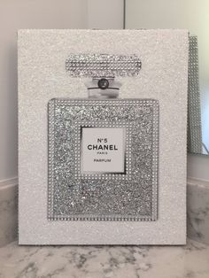 Canvas Wrapped Embellished Art Print Chanel No. 5 Perfume Bottle Sparkling Bling Glitter Rhinestone Crystals Wall Hanging 11 x 14 by PrintcessCharming on Etsy