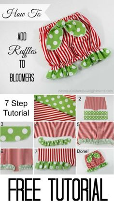 Free Tutorial - How To Add Ruffles To Bloomers - Whimsy Couture Sewing Patterns Sewing Baby Clothes, Baby Clothes Patterns, Sewing Patterns Free, Free Sewing, Baby Patterns, Babies Clothes, Babies Stuff, Clothing Patterns, Dress Patterns