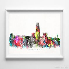Santiago Chile Skyline Watercolor Wall Art Print. Prices from $9.95. Available at InkistPrints.com - #skyline #watercolor #cityscape #walldecor #livingroomdecor #Santiago #Chile