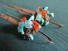 Aquamarine, agate, turquoise, kyanite earrings. Long Chain earrings. Aqua blue Teal blue. Hand made shaped. Nautural rough nuggets earrings. by MADAMBLUEONE on Etsy https://www.etsy.com/listing/205396897/aquamarine-agate-turquoise-kyanite
