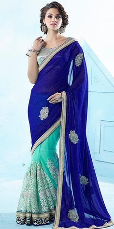 Royal Navy Blue Net Saree With Blouse.