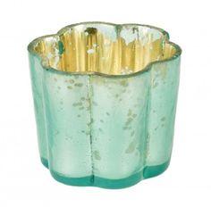 Windlicht Blume, pastellmint, 5 cm - Dieser Teelichthalter in Blumenform sorgt für bunte Lichtreflexe.Material: Glas