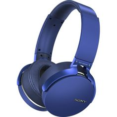 Sony - Extra Bass Wireless Over-the-Ear Headphones - Blue - Angle Zoom