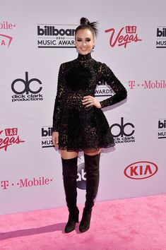 Jessica Alba Little Black Dress - Jessica Alba was all about gothic glamour in a Zuhair Murad turtleneck LBD teamed with thigh-high boots at the Billboard Music Awards.