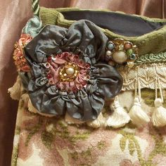 Fabric Flower pin for purse