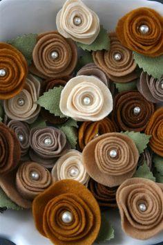 brown felt rosettes