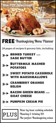 Awesome free download: Thanksgiving planner with full menu & shopping list plus an hour-by-hour cooking and prep guide. (Love the suggested wines too!):