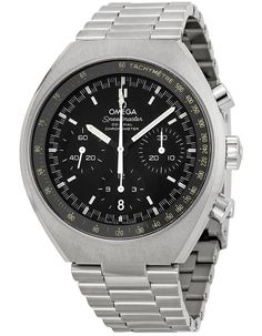 Omega Speedmaster Mark II Chronograph Black Dial 327.10.43.50.01.001 Fine Watches, Watches For Men, Wrist Watches, Stainless Steel Bracelet, Stainless Steel Case, Black Face Watch, Mark Ii, Discount Watches, Omega Speedmaster