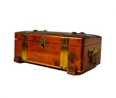 Wooden Keepsake Jewelry Box Chest With Brass Decorative Straps Latch & Lock…
