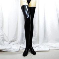 431e5dcb0 Women Sexy Black Spandex Thigh High Latex Glam Rock Gothic Wetlook  Stockings Meias Pretas