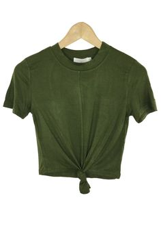 maddy front knot crop top (olive)