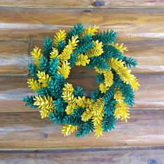 Green Bay Packer Pine Cone Wreath Green and Yellow Wreath