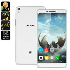 Lenovo PHAB Android Tablet PC - Quad-Core CPU, 2GB RAM, Android OS, 4G, Dual-Band WiFi, 6.98 Inch IPS Display, 13MP Cam (White) - Lenovo PHAB Tablet Computer is a beautiful 6.98 Inch cheap Android tablet PC that features a powerful Quad-Core CPU, 2GB RAM, Dual-Band WiFi, 4G, and more.