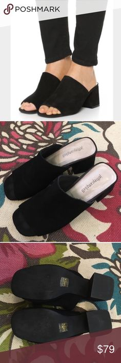 """Jeffrey Campbell Perpetua mules Black suede, size 8.5, flared chunky block  2 1/2"""" heel, fits 8-8.5, great condition, no trades Jeffrey Campbell Shoes Mules & Clogs"""