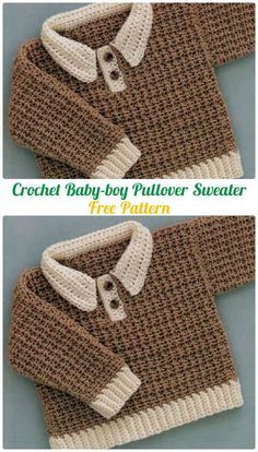 Crochet Baby-boy Pullover Sweater Free Pattern - Crochet Kid's Sweater Coat Free Patterns