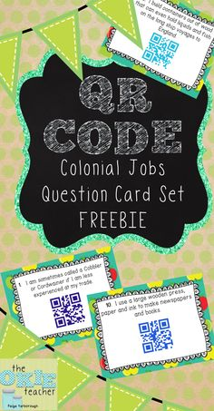 Colonial Jobs  Question Card Set QR Code Freebie Great for a Colonial Unit Center or Activity!