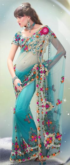 Shaded Light #Blue Net #Saree with #Blouse @ $271.00