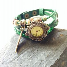 Green Leather Wrap Watch by Victorianstudio