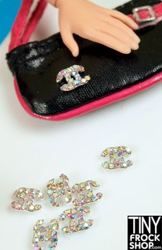 Barbie Faux Designer Style High Quality TINY Curved Metal Rhinestone Logo - 6-8MM