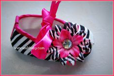 Ballerina Zebra Crib Shoes Hot Pink, Light Pink, Or Lavender, or Your Color Of Choice 0-6  or  6-12 Months. $11.00, via Etsy.