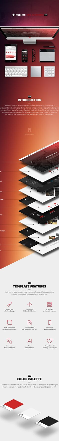 RUBIKO | Epic giveaway on Behance Could be a good way to layout for Project Details once clicked on in project gallery