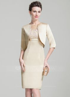 Empire Scoop Neck Knee-Length Beading Appliques Lace Sequins Zipper Up Sleeves Short Sleeves Yes 2016 Other Colors Spring Summer Fall General Plus Satin Tulle Mother of the Bride Dress