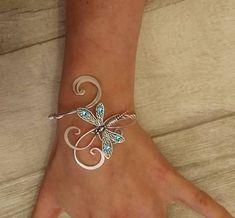 Aquamarine Swarovski Dragonfly cuff bracelet