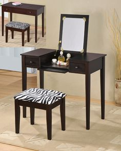Incroyable Contemporary Vanity Set With Flip Mirror Top And Zebra Print Stool Espresso  Finish