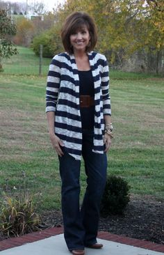 outfits with black boots, jeans, and cardigan sweater | Striped cardigan- Stitch Fix /Navy blue tank-Target/Boot cut jeans ...