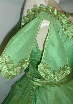 Majestic 1860's Green Silk Dress w Two Bodices Museum de Accessioned | eBay