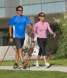 Nordic walking is using fitness walking poles to give you a better workout. You get an upper body workout and burn more calories per mile. Muscle Fitness, Mens Fitness, Fun Workouts, At Home Workouts, Training Workouts, What Is Nordic, Walking Poles, Walking Sticks, Benefits Of Walking Daily