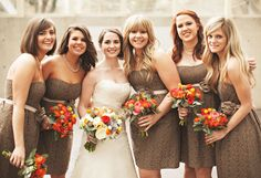 Love these brightly coloured bouquets combined with brown bridesmaid dresses - from EE Photography