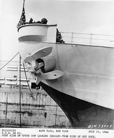 Port side of upper bow looking inboard from side of dry dock