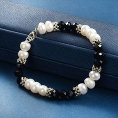 White Cultured Pearls and Black Crystal Beads Strand Bracelet, Gold Pearl Ring, Baroque Pearl Necklace, Beaded Jewelry, Beaded Bracelets, Pearl Jewelry, Gemstone Jewelry, Jewellery, Floating Pearl Necklace, Pearl Necklaces