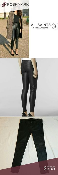 """ALLSAINTS Spitalfields 100% Leather Skinny Pants ALLSAINTS Spitalfields """"Jacks Place"""" E16NN Origin Mauritius. Gorgeous, gorgeous soft leather skinny leather pants with lining from knees up, inside under lining at ankles and calfs has little worn feel from wearing but everywhere else beautiful, lining inside is perfect.   Size 28, Inseam 28"""" All Saints Pants Skinny"""