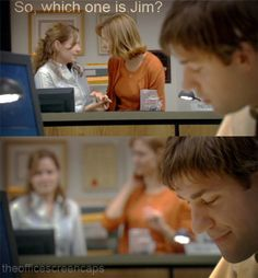 """I'm not a big chick-flick person, and I stopped watching this show a long time ago, but every once in a while, someone posts a little piece of Jim'n'Pam being cute, and my heart gets all fluttery and my throat tries to say """"awwww"""" all on its own. SO DAMN CUTE."""