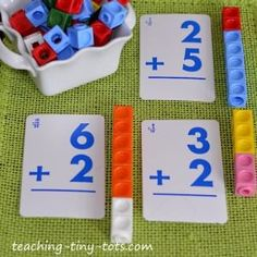 Snap Cubes With Activities to Reinforce Counting, Patterns, Addition and Subtraction - adapt for preshoolers. Color code the numbers to coordinate with the snapping cube colors. Math For Kids, Fun Math, Math Activities, Addition Activities, Subtraction Activities, Math Classroom, Kindergarten Math, Teaching Math, Math Stations