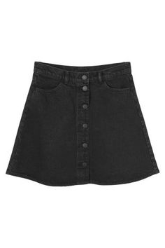 Monki Image 2 of Mini A-line denim skirt in Black