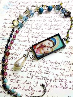 Rosary Style Soldered Madonna Stained Glass Pendant Necklace
