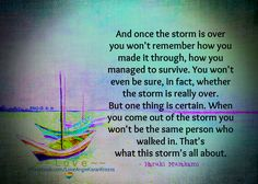 And once the storm is over you won't remember how you made it through, how you managed to survive. You won't even be sure, in fact, whether the storm is really over. But one thing is certain. When you come out of the storm you won't be the same person who walked in. That's what this storm's all about. ― Haruki Murakami